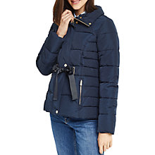 Buy Oasis Ribbon Detail Short Padded Jacket, Navy Online at johnlewis.com