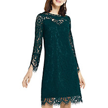 Buy Oasis Long Length Lace Shift Dress, Turquoise Online at johnlewis.com