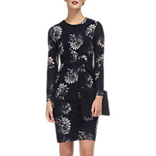 Buy Whistles Brush Stroke Silk Bodycon Dress, Navy/Multi Online at johnlewis.com