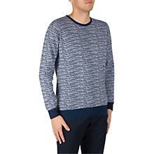 Buy John Smedley Laxton Long Sleeve Jumper, Indigo/White Online at johnlewis.com