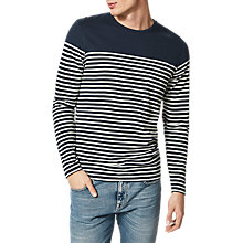 Buy Selected Homme Long Sleeve Striped T-Shirt, Dark Sapphire Online at johnlewis.com