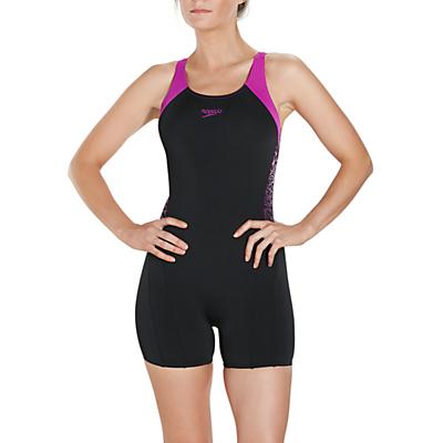 Speedo Boom Splice Legsuit Swimsuit, Black/Diva