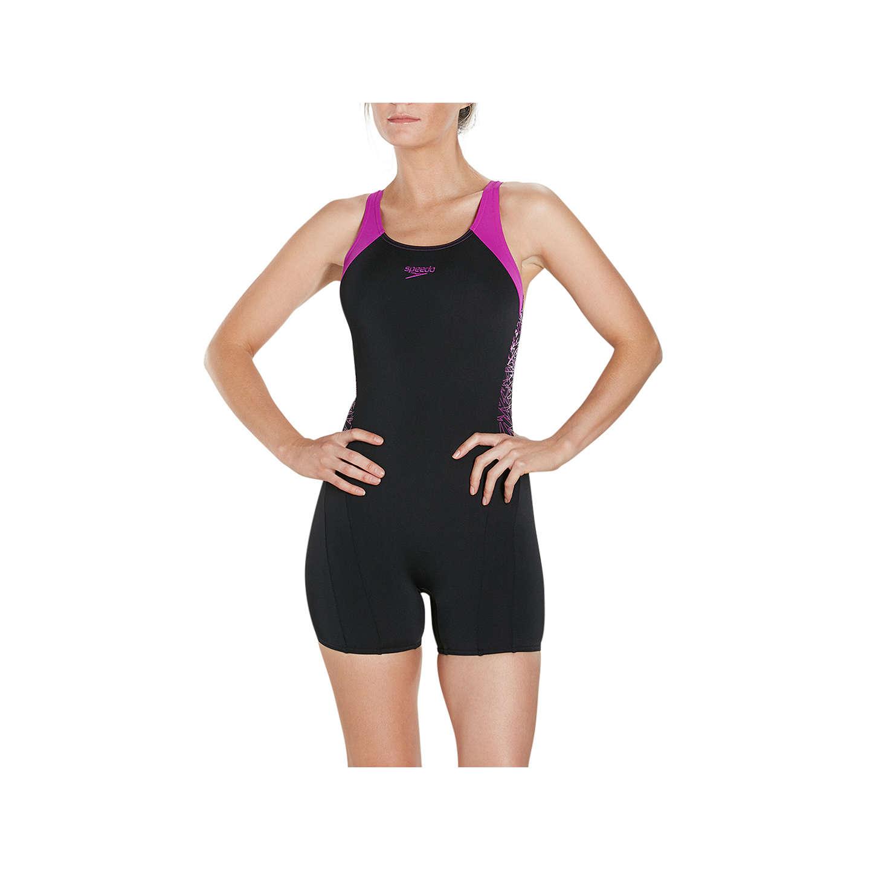 Speedo Boom Splice Legsuit Swimsuit, Black/Diva by Speedo