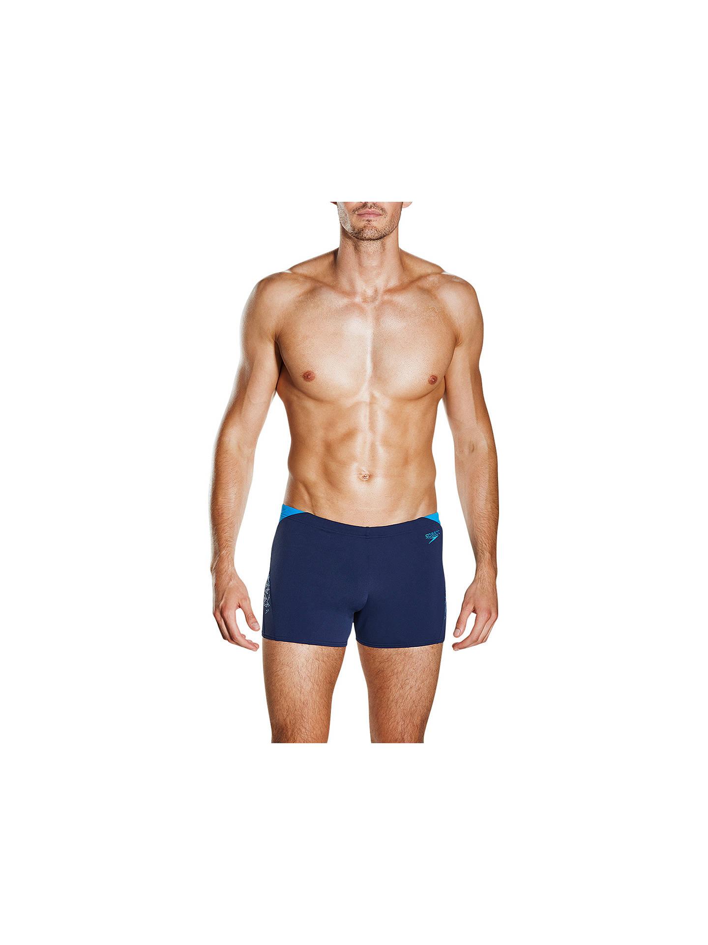 b5f3f995738db Buy Speedo Boom Print Splice Aquashort Swim Shorts, Navy/Blue, 30 Online at  ...