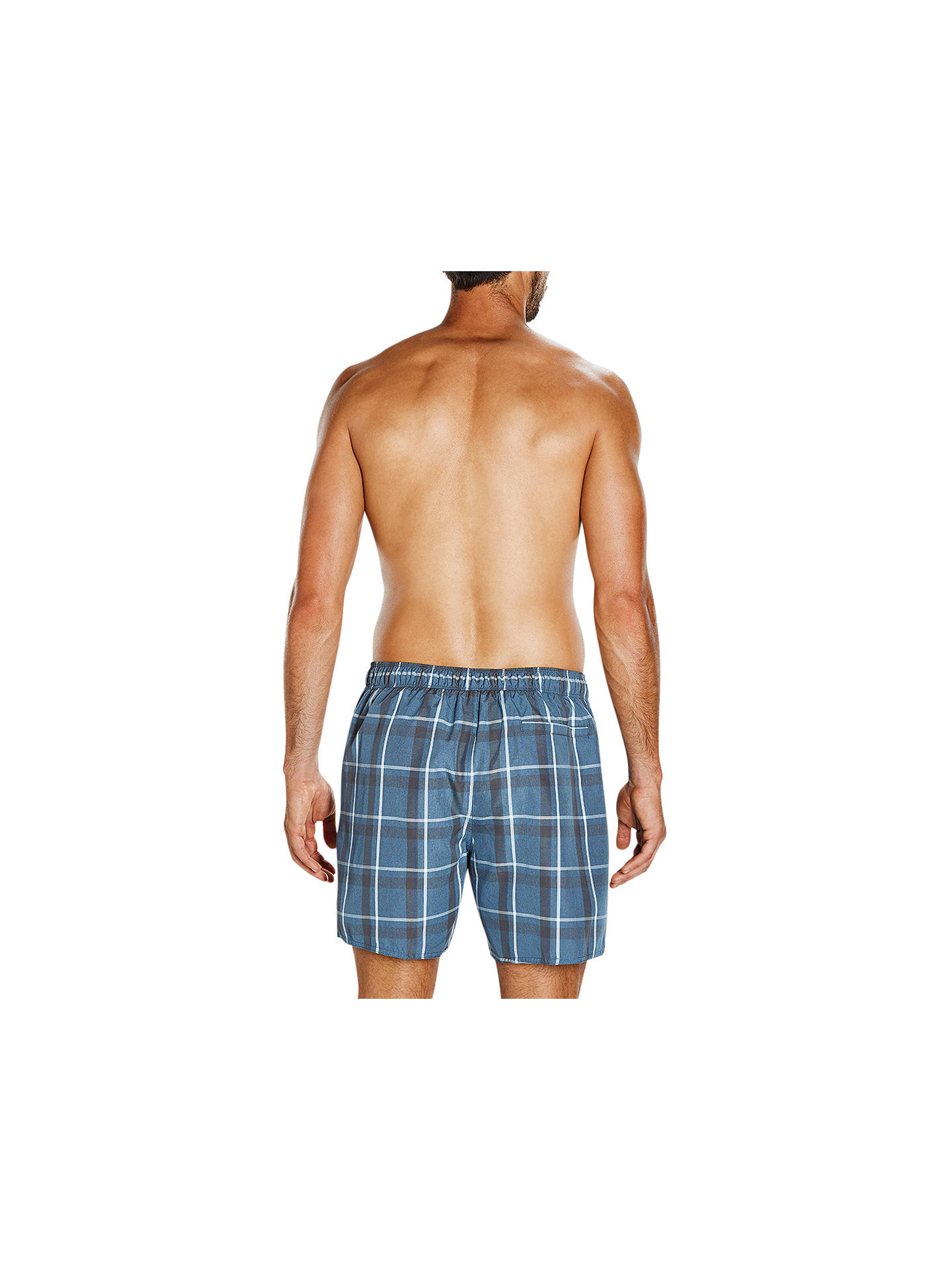 "BuySpeedo Check Leisure 18"" Watershort Swim Shorts, Grey/Navy/White, S Online at johnlewis.com"