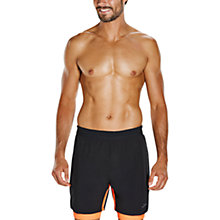 "Buy Speedo Lane Hybrid 16"" Swimming Shorts, Black/Fluo Orange Online at johnlewis.com"