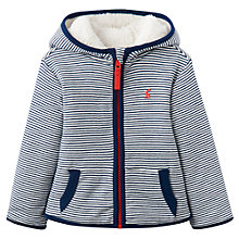 Buy Baby Joules James Reverse Stripe Fleece Hoodie, Navy Online at johnlewis.com