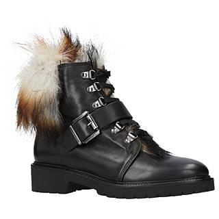 Carvela Sly Faux Fur Lace Up Ankle Boots, Black Leather