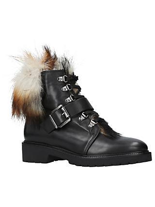 d5c59e5d7e5d Carvela Sly Faux Fur Lace Up Ankle Boots, Black Leather