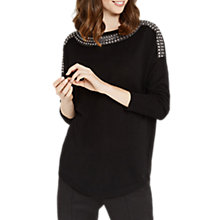 Buy Oasis Embellished Neck Knitted Jumper, Black Online at johnlewis.com