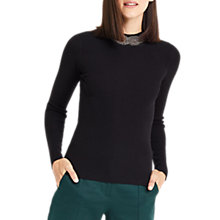 Buy Oasis Embellished High Neck Knitted Jumper, Black Online at johnlewis.com