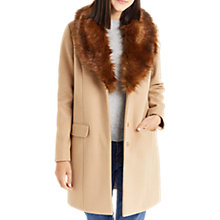 Buy Oasis Fran Shawl Faux Fur Collar Coat, Tan Online at johnlewis.com