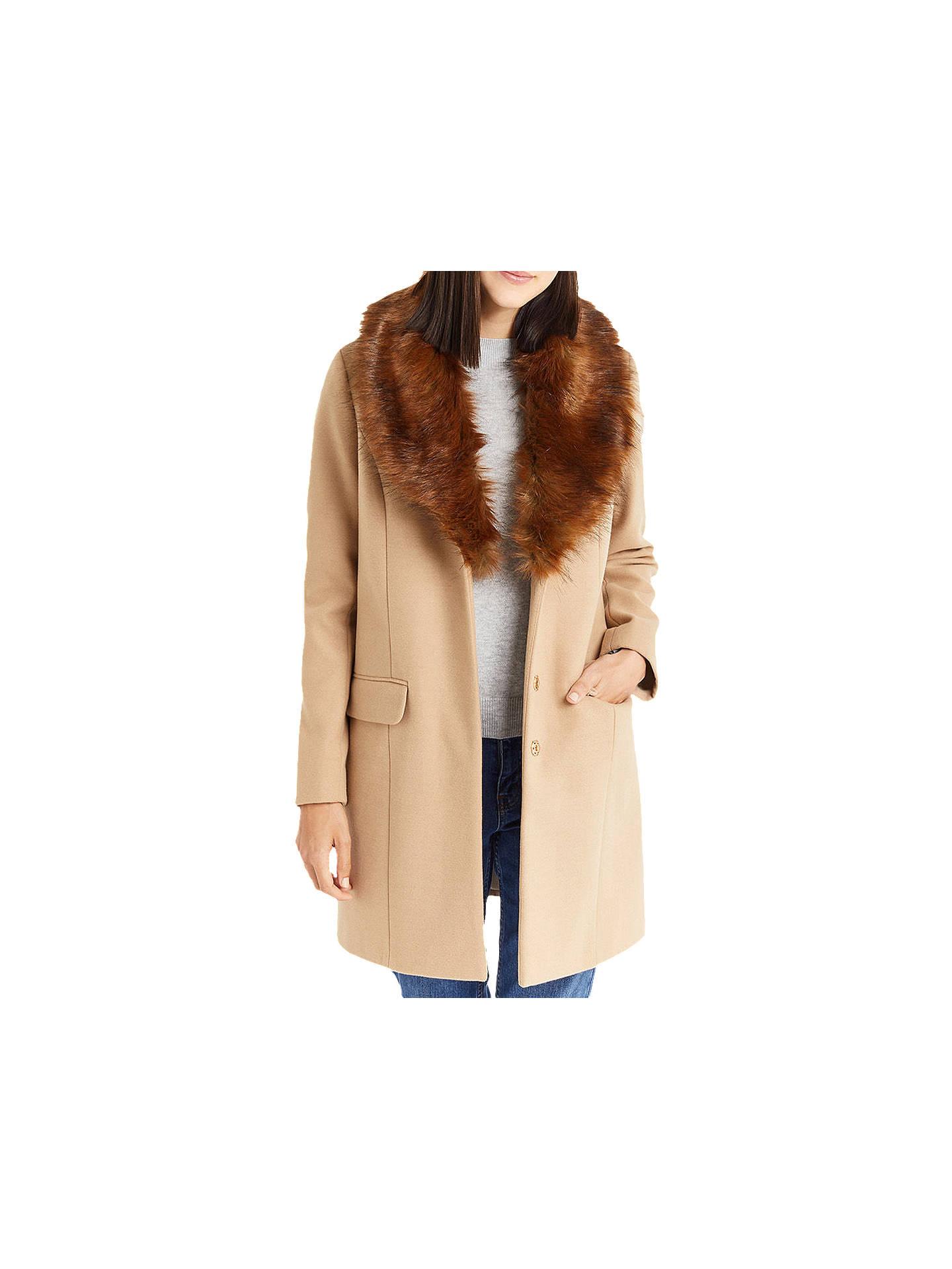 f9f6c11de9ba Buy Oasis Fran Shawl Fur Collar Coat, Tan, XS Online at johnlewis.com ...