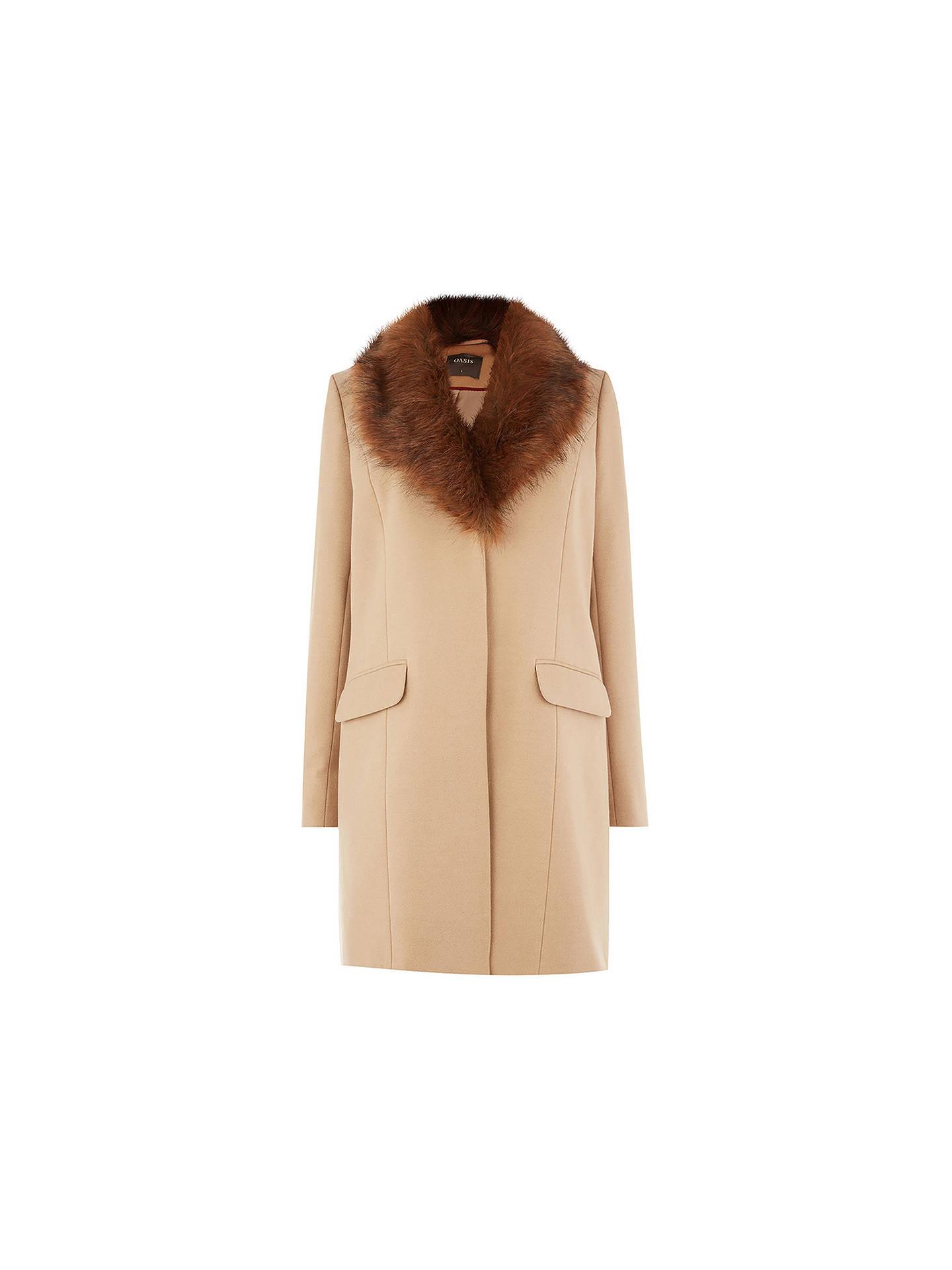 65a012a4c92f ... Buy Oasis Fran Shawl Fur Collar Coat, Tan, XS Online at johnlewis.com  ...