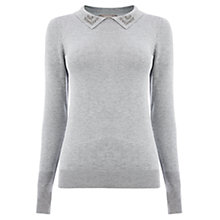 Buy Oasis Napoleonic Long Sleeve Jumper, Mid Grey Online at johnlewis.com