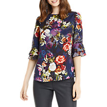 Buy Oasis Photographic Floral Flute Sleeve Top, Navy Online at johnlewis.com