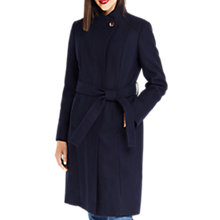 Buy Oasis Leahana Long Funnel Neck Coat, Navy Online at johnlewis.com