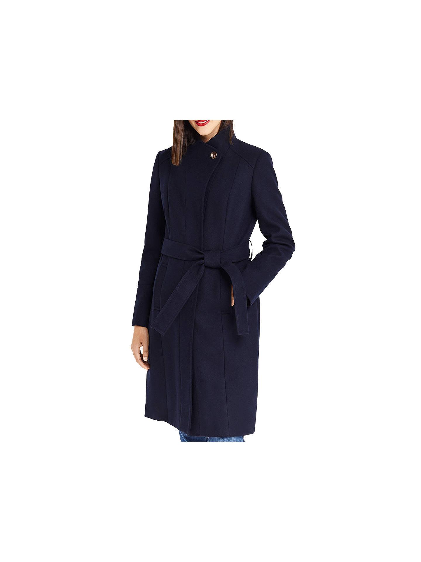 Oasis Funnel Neck Coat, Black at John Lewis & Partners
