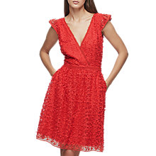 Buy Reiss Abrianna Lace V-Neck Dress, Vermillion Online at johnlewis.com