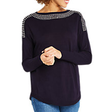 Buy Oasis Embellished Jumper, Navy Online at johnlewis.com