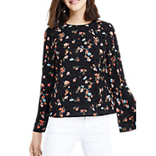Buy Oasis Flocked Rosetti Flute Sleeve Blouse, Multi/Black Online at johnlewis.com