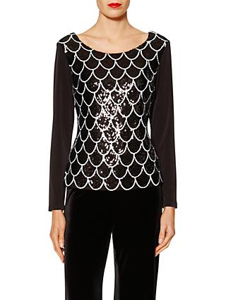 Gina Bacconi Sandra Scallop Sequin Top, Black