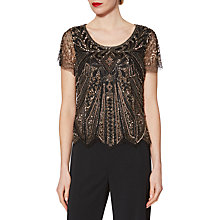 Buy Gina Bacconi Donna Short Sleeve Beaded Top, Black Online at johnlewis.com