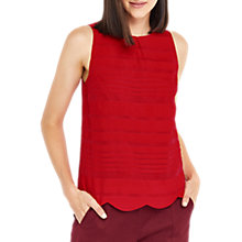 Buy Oasis Grid Stripe Scallop Shell Top, Rich Red Online at johnlewis.com