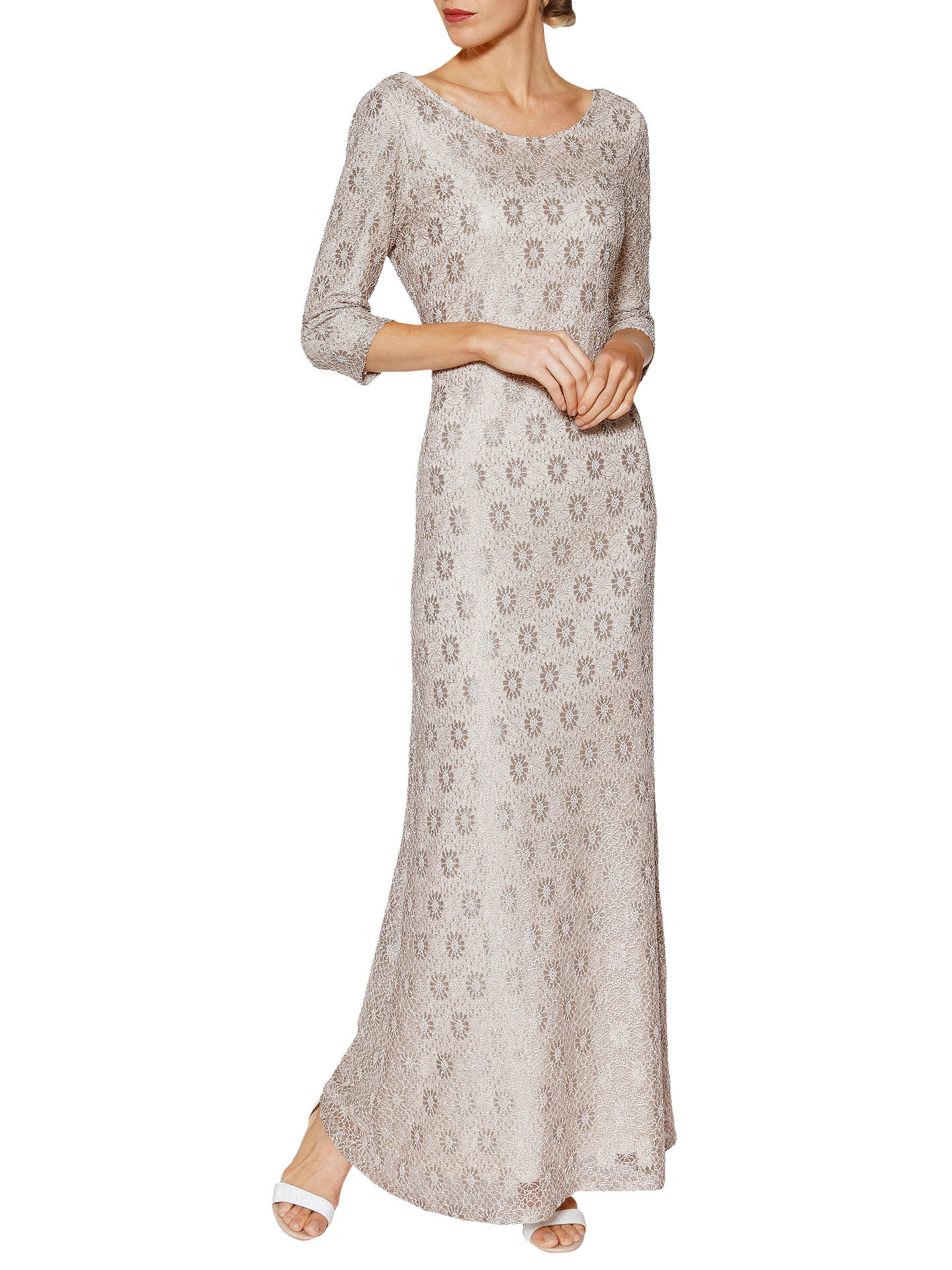 700f5e5ed Buy Gina Bacconi Holly Lace Long Sleeve Maxi Dress, Beige, 20 Online at  johnlewis ...