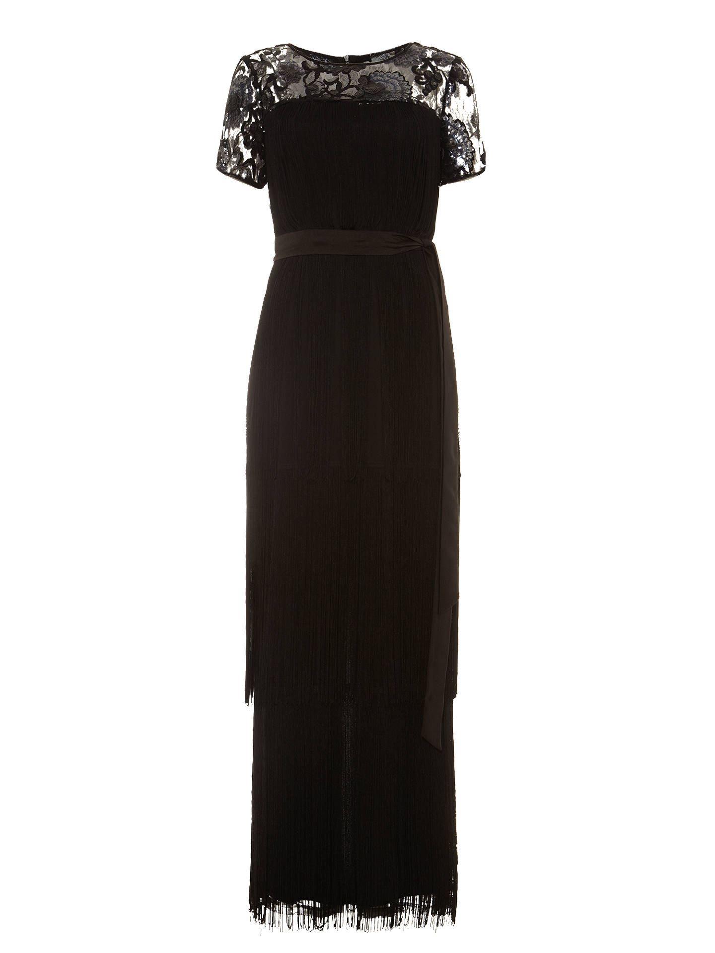 463ea8e78d Buy Phase Eight Malene Fringed Full Length Dress, Black, 6 Online at  johnlewis.