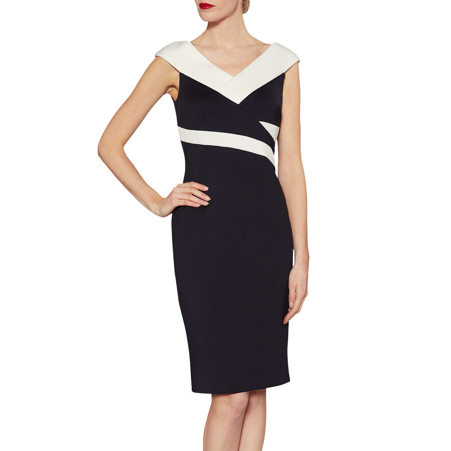BuyGina Bacconi Janet Contrast Panel Dress, Black/Ivory, 10 Online at johnlewis.com