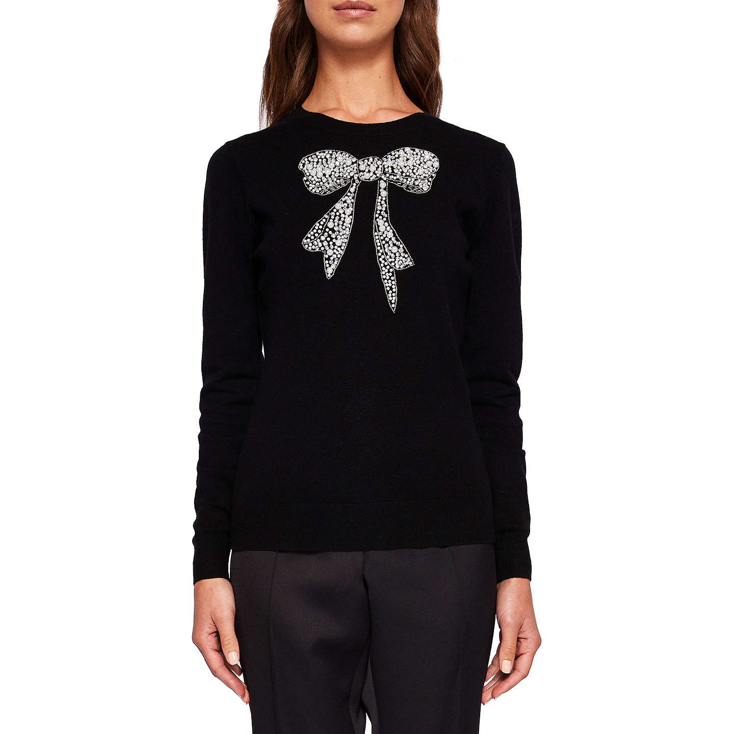 BuyTed Baker Bowsi Bow Embellished Jumper, Black, 0 Online at johnlewis.com
