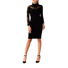 Buy Coast Cecil Lace Trim Knit Dress, Black Online at johnlewis.com
