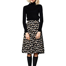 Buy Compañía Fantastica Flower Print Midi Skirt, Black Online at johnlewis.com