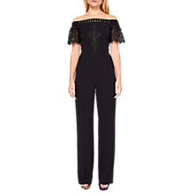 Buy Ted Baker Loreena Off Shoulder Geo Lace Jumpsuit, Black Online at johnlewis.com