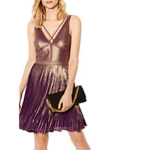 Buy Karen Millen Metallic Print Pleat Dress, Multi Online at johnlewis.com