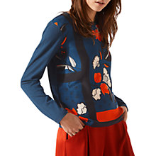 Buy Jigsaw Nordic Floral Border Silk Front Top, Dark Petrol Online at johnlewis.com
