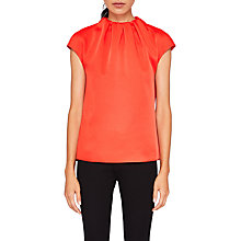 Buy Ted Baker Landa Gathered High Neck Crepe Top, Bright Red Online at johnlewis.com