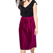 Buy Wild Pony Elasticated Waist Pleated Midi Skirt, Fuchsia Online at johnlewis.com