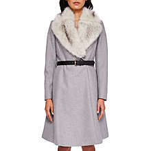 Buy Ted Baker Narniaa Faux Fur Skirted Coat, Light Grey Online at johnlewis.com