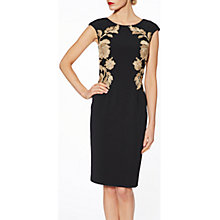Buy Gina Bacconi Natalie Floral Embroidered Dress, Black/Gold Online at johnlewis.com