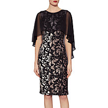 Buy Gina Bacconi Lottie Floral Velvet Cape Dress, Black/Gold Online at johnlewis.com
