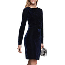 Buy Reiss Matty Merlot Long Sleeve Velvet Dress Online at johnlewis.com