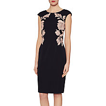 Buy Gina Bacconi Natalie Floral Embroidered Dress, Midnight Peach Online at johnlewis.com