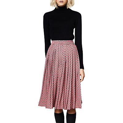Product photo of Compa a fant stica polka dot print pleated midi skirt pink black