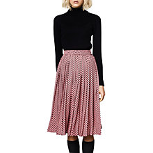 Buy Compañía Fantástica Polka Dot Print Pleated Midi Skirt, Pink/Black Online at johnlewis.com