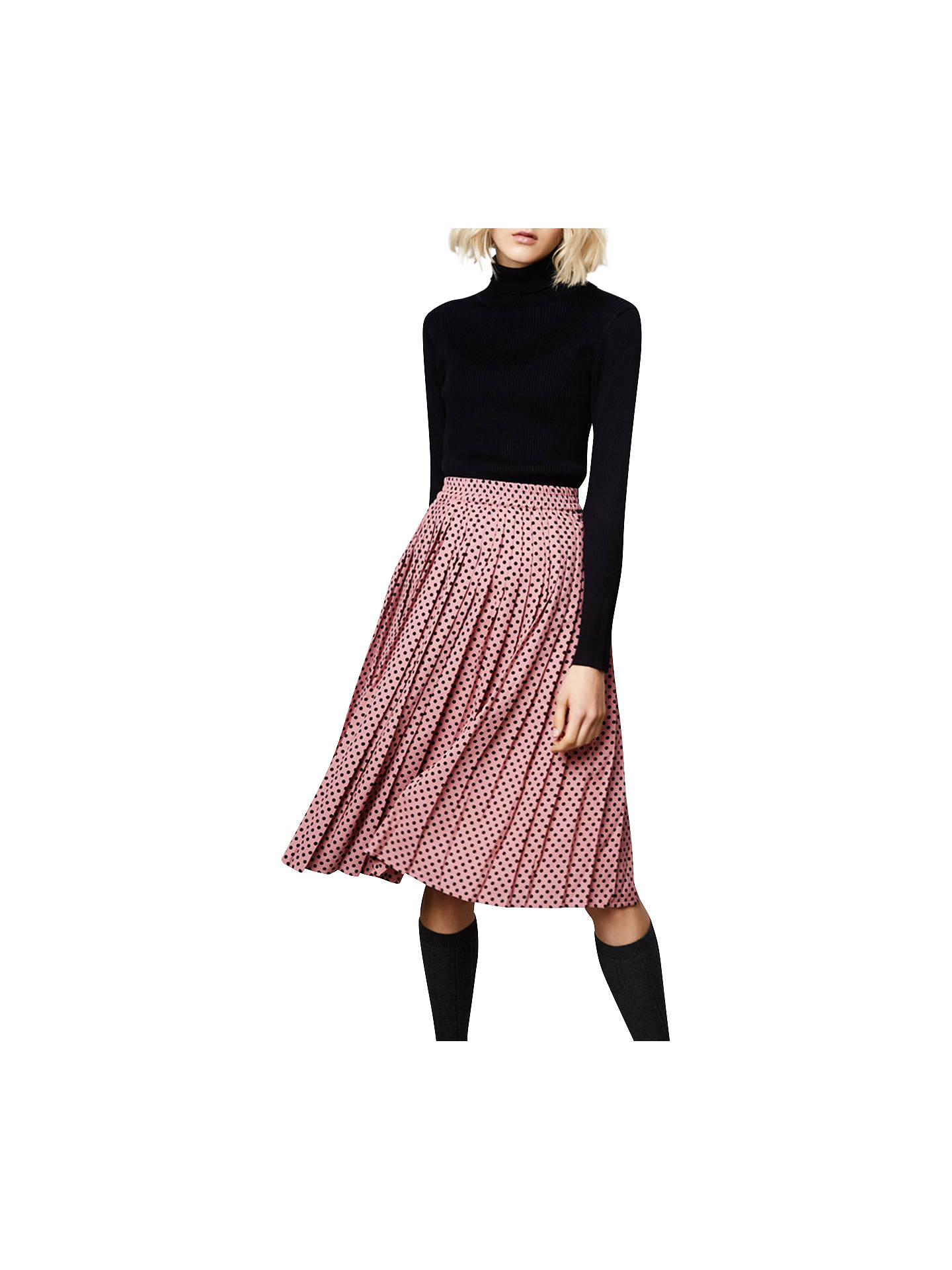 f2495fac8fb1 ... Buy Compañía Fantástica Polka Dot Print Pleated Midi Skirt, Pink/Black,  S Online ...