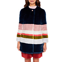 Buy Ted Baker Ramani Missisippi Faux Fur Coat, Mid Blue Online at johnlewis.com