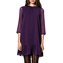 Buy Compañía Fantástica Polka Dot Print Sheer Sleeve Mermaid Hem Dress, Purple/Black Online at johnlewis.com
