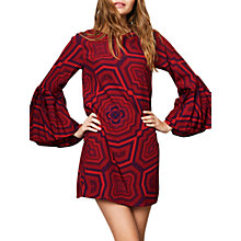 Buy Compañía Fantástica Geometric Print Bell Sleeve Dress, Red Online at johnlewis.com